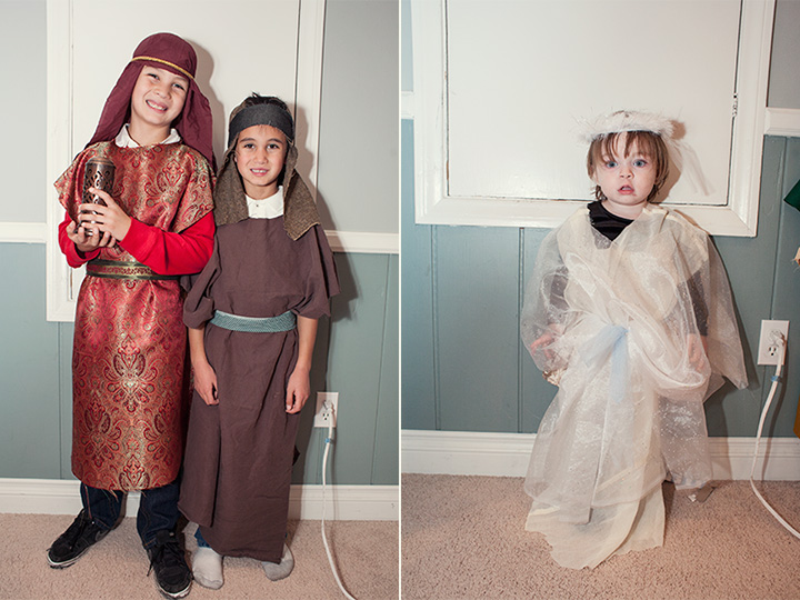 Handmade nativity scene costumes