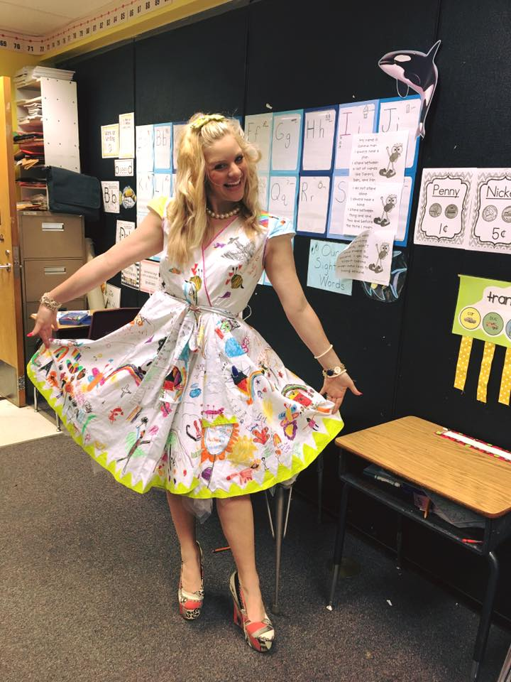 End of year kid made teacher dress