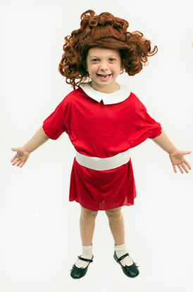 Homemade little orphan Annie costume