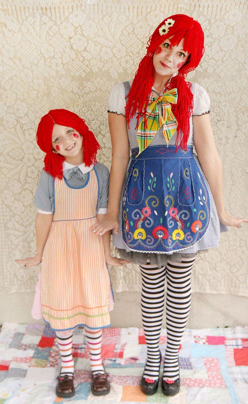 Red Pigtail Wig Bendable Braids Kids Rag Doll Costume Halloween Fancy Dress